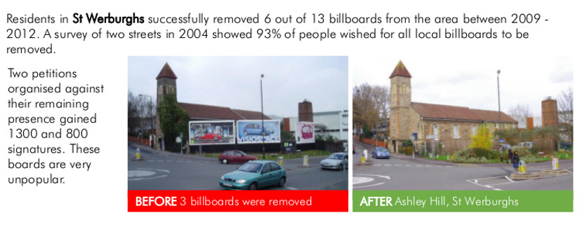 Billboards removed rom Ashley Hill, St Werbs